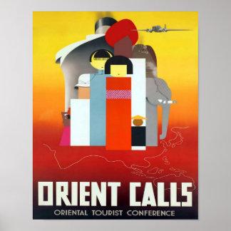 Orient Calls Vintage Travel Advert Poster