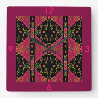 Orient Charm on Pink/Black/Yellow/Blue/Gold/Red Square Wall Clock