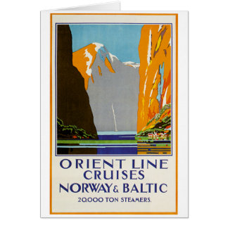 Orient Line Cruises Norway and Baltic Vintage Card