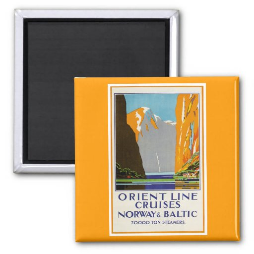 Orient Line Cruises Norway and Baltic Vintage Refrigerator Magnet