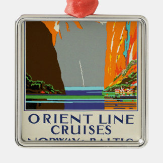Orient Line Cruises ~ Norway & Baltic Square Metal Christmas Ornament