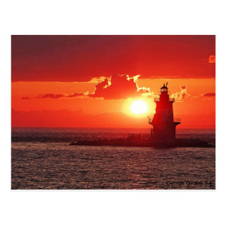 Orient Point Light at Sunset Postcard