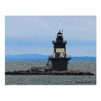 Orient Point Light House on a Stoming Morning Postcard