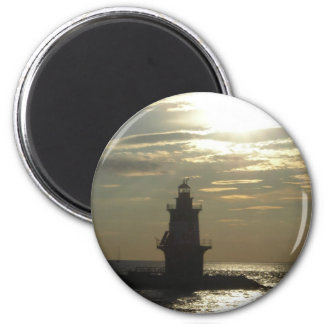 Orient Point Lighthouse Sunset 3 2 Inch Round Magnet