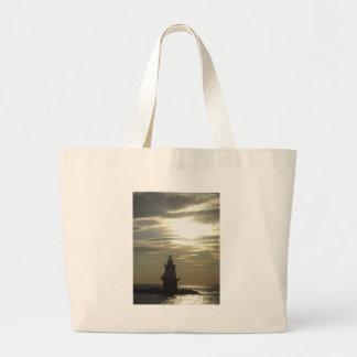 Orient Point Lighthouse Sunset 3 Jumbo Tote Bag