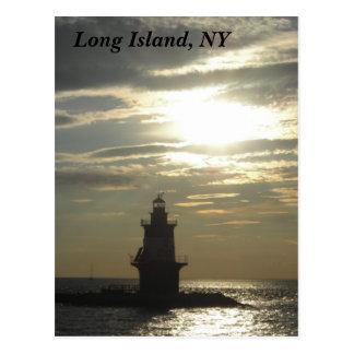 Orient Point Lighthouse Sunset 3 Postcard
