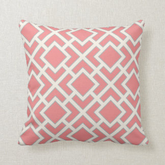 Orient Square Pattern in Coral Pink Grey Cream Throw Pillow