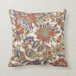 Orient Vintage Retro Colorful Pasley Floral Pillow