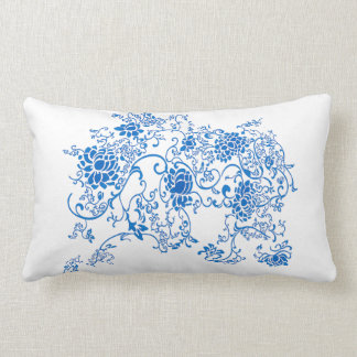 Oriental Accent Blue and White Porcelain Floral Pillow