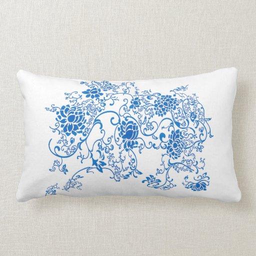 Porcelain Blue Decorative Pillows : Oriental Accent Blue and White Porcelain Floral Throw Pillow Zazzle