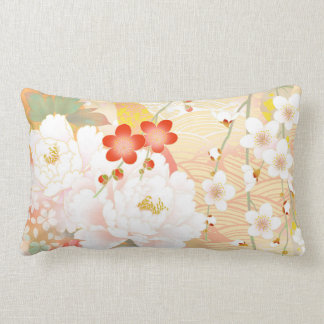 Oriental Accent Japanese Floral Soft Colors Throw Pillow