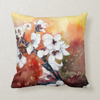 oriental art asian flower painting pillow