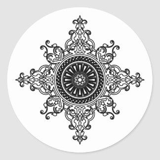 Oriental art black and white classic round sticker