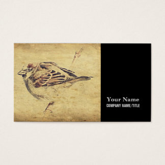 Oriental art pencil sketch Peaceful Zen bird Business Card
