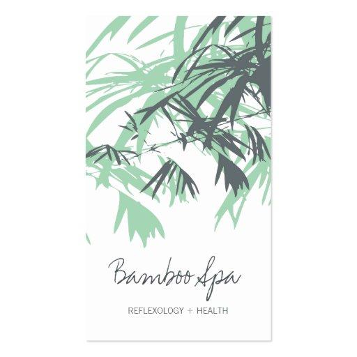 Oriental Asian Bamboo Leaves Tree Modern Zen Spa Business Card
