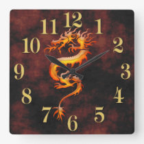 Oriental Asian Gold Dragon Designer Timepiece Square Wall Clock
