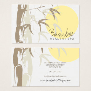 Bamboo business cards templates zazzle oriental asian yellow sunrise bamboo leaves zen business card colourmoves Images