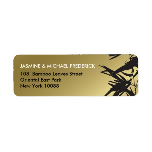 Oriental Bamboo Leaves Black Gold Address Label