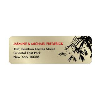 Oriental Bamboo Leaves Black Gold Address Label