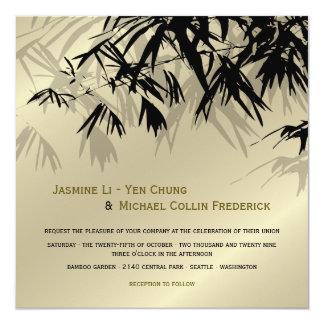 Oriental Bamboo Leaves Black Gold Wedding Invite