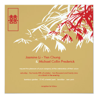 Oriental Bamboo Leaves Double Happiness Wedding Card