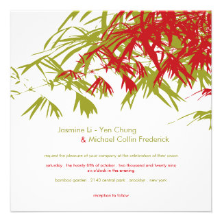 Oriental Bamboo Leaves Double Happiness Wedding Personalized Invitations