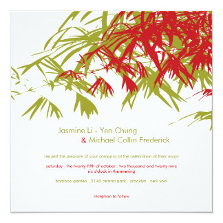 Oriental Bamboo Leaves Double Happiness Wedding 5.25x5.25 Square Paper Invitation Card