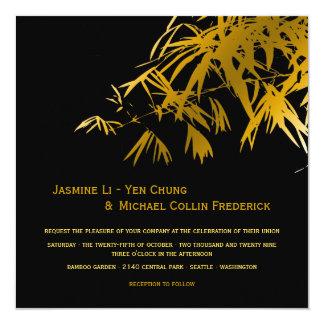 Oriental Bamboo Leaves Gold Black Wedding Invite
