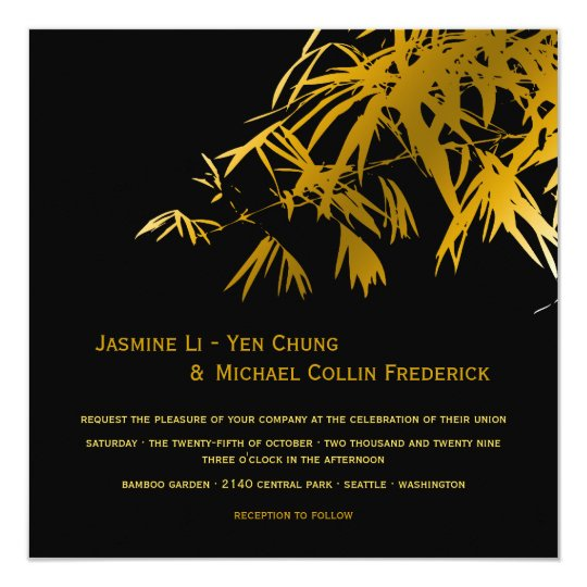 Oriental Bamboo Leaves Gold Black Wedding Invite