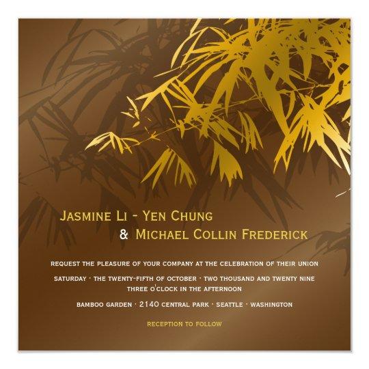 Oriental Bamboo Leaves Gold Coffee Wedding Invite