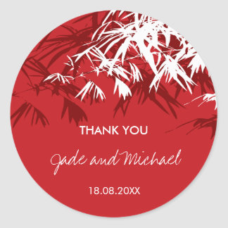Oriental Bamboo Leaves Thank You Wedding Sticker