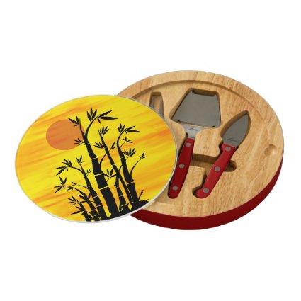 Oriental Bamboo Sunset Round Cheeseboard