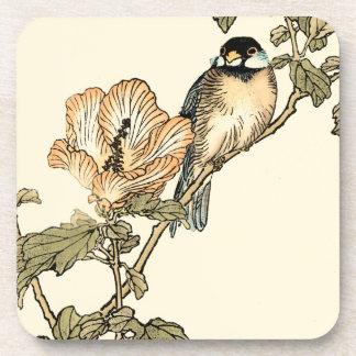 Oriental Bird Perched on Branch Beverage Coaster
