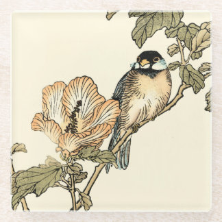 Oriental Bird Perched on Branch Glass Coaster