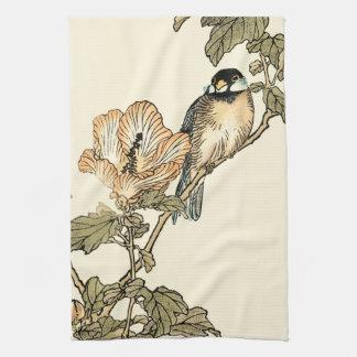 Oriental Bird Perched on Branch Kitchen Towel