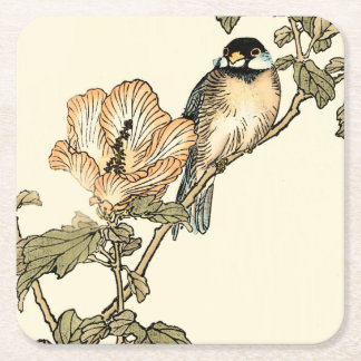 Oriental Bird Perched on Branch Square Paper Coaster
