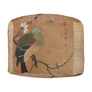 Oriental birds round pouf