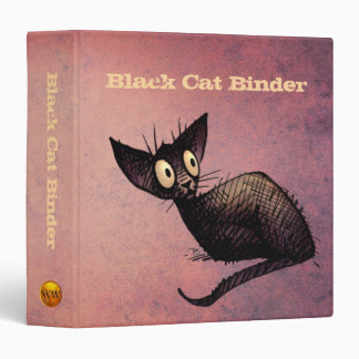 Oriental Black Cat Art Lover Pink Binder