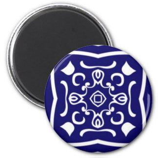 Oriental blue tile pattern 2 inch round magnet