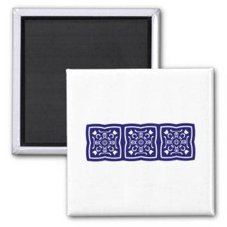 Oriental blue tile pattern 2 inch square magnet