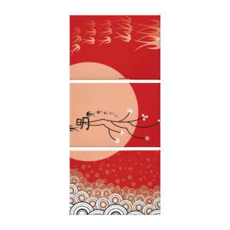 Oriental Bright Moon Swallows Birds Zen Modern Art Stretched Canvas Prints
