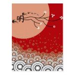 Oriental Bright Moon Swallows Birds Zen Modern Art Post Cards