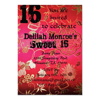 Oriental Brocade Sweet Sixteen Invitations