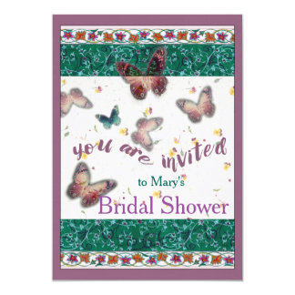 Oriental Butterfly illustrated bridal shower Card