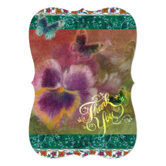 Oriental Butterfly pansy thank you Card