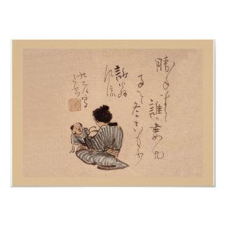 Oriental Camelia and Bush Warbler Card