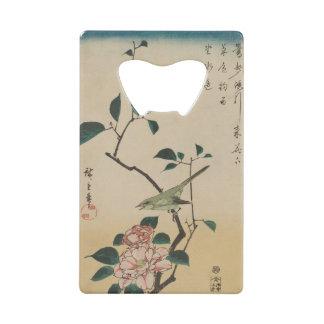 Oriental Camelia and Bush Warbler Credit Card Bottle Opener