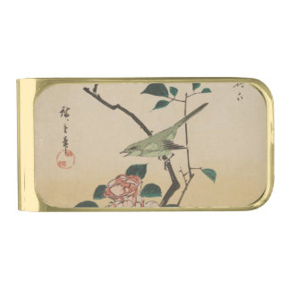 Oriental Camelia and Bush Warbler Gold Finish Money Clip