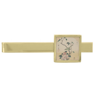 Oriental Camelia and Bush Warbler Gold Finish Tie Clip