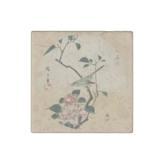 Oriental Camelia and Bush Warbler Stone Magnet